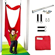 DreamGYM Sensory Doorway Swing | Therapy Indoor Swing | 95% Cotton | Hardware Included (Red)