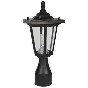 PP10 Solar 'Coach' Post / Pole Top Accent Light (Round Base) - Black
