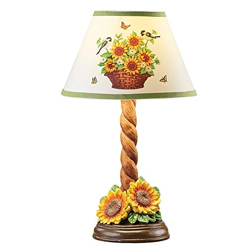(Collections Etc Birds and Sunflower Accent Lamp with Twisted Design Stand - Decorative Tabletop Light for Any Room in Home)