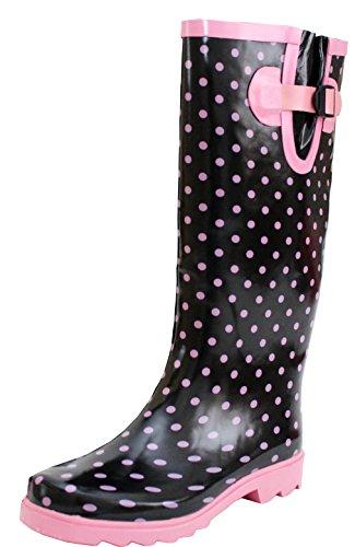 A&H Footwear New Womens Ladies Ajustable Calf Snow Rain Mud Festival Waterproof Wellington Boots Wellies Sizes UK 3-8 (UK 7, Black/Pink Spots)