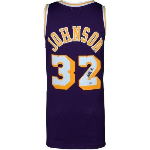 bc8acb1cc97 Magic Johnson Los Angeles Lakers Autographed Purple Mitchell & Ness  Hardwood Classics Swingman Jersey - Fanatics