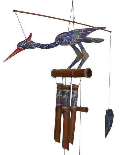 Cohasset Gifts 174P Cohasset Passion Bobbing Head Bird Bamboo Wind Chime, Hand Painted Purple Spotted Design