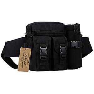 ArcEnCiel Tactical Waist Pack Pouch With Water Bottle Pocket Holder Molle Fanny Hip Belt Bag (Black)