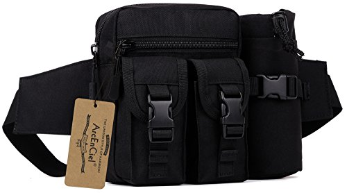 Pack Pouch Utility Waist (ArcEnCiel Tactical Waist Bag Waterproof Bum bag Military Waist Utility Belt Water Bottle Pouch Pack for Trekking Hiking Walking Bike Cycling Climbing (Black))