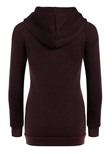Hoody Cerniera Puro Tasca Elegante Cappotto Outwear Casual Frontale Red Manica Lunga Sweatshirt Donna Con Colore Pullover AILIENT Caldo Cappuccio R48nq