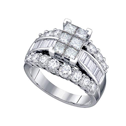 Diamond Engagement Ring + Wedding Band Bridal Set 3.00ct 14k White Gold Diamond Invisible Mens Ring
