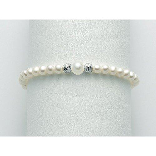Miluna Bracelet de Perles pbr2308 Or Blanc Perle