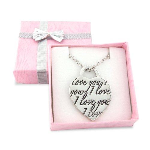 Coffret cadeau avec collier Ð pendentif argentŽ en forme de cÏur, avec le message I love you gravŽ dedans