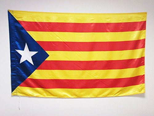 Catalan Flag (CATALONIA ESTELADA BLAVA FLAG 3' x 5' in SATIN for a pole - INDEPENDENTIST CATALAN FLAGS 90 x 150 cm - BANNER 3x5 ft with hole - AZ FLAG)