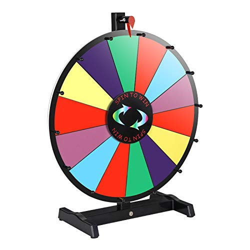 bletop Spinning Prize Wheel 14 Clicker Slots Color Editable Face Spinner with Dry Marker Pen & Eraser Trade Show Carnival Fortune Casino Game (18