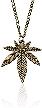 NSSQ Collar de la Cadena del cáñamo de la Hoja Colgante del Encanto del Collar de la Manera de la Hoja de Arce de Moda for los Regalos de Las Mujeres de los Hombres de joyería Accesorios Largo 50cm