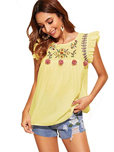 Floerns Women's Floral Embroidered Ruffle Babydoll Peplum Tops Blouse Yellow M