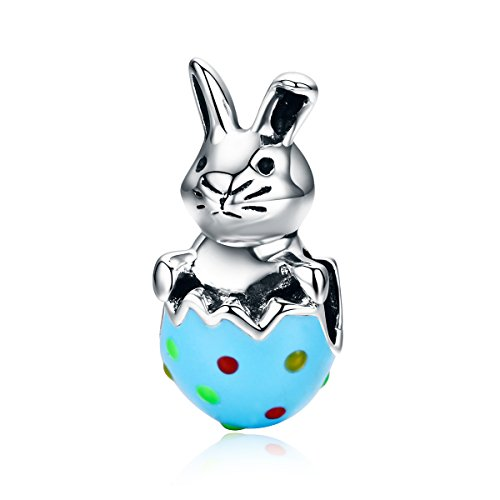Rabbit Easter Rabbit Bunny and Egg 925 Sterling Silver Bead Fits European Charm Bracelet (Easter Bunny Colorful Enamel Rabbit) (Sterling Silver Rabbit Charm)