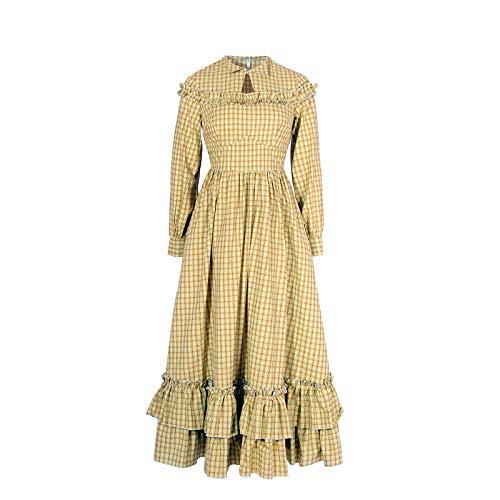 NSPSTT Women Girls American Pioneer Colonial Dress Prairie Costume (Medium, Yellow)]()