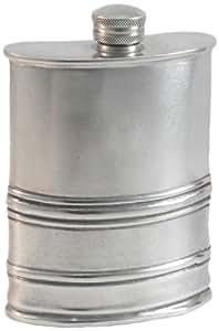 "Visol ""The Duke"" Antique Finish Genuine Pewter Flask, 6-Ounce, Chrome"