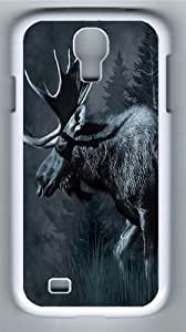 Moose Wildlife Polycarbonate Hard Case Cover for Samsung Galaxy S4/Samsung Galaxy I9500 White