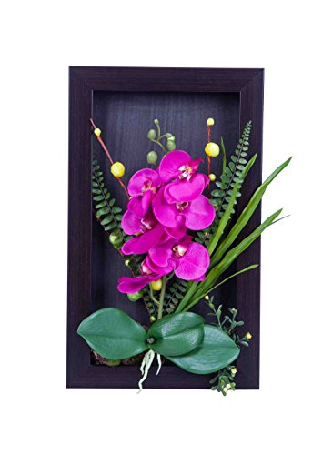 Artificial Orchid Flower Arrangement Home Decor 3D Wall Table Top Frame(purple red)