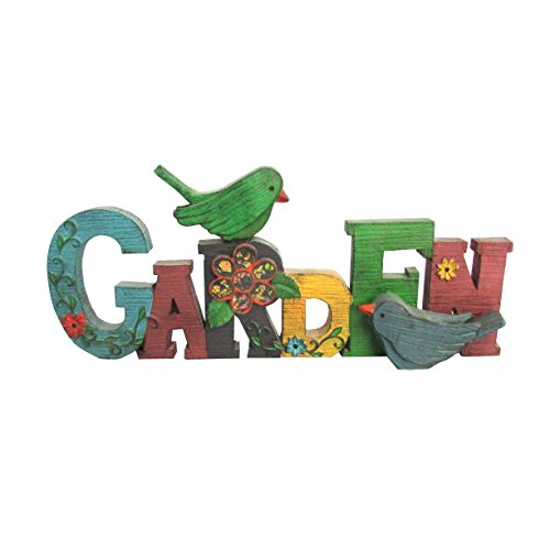 HomeView Design Painted Wood Carved Garden Sign with Bird Couple & Mosaic Flowers, 16.5