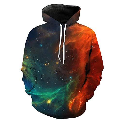 Bon Soir Men's Hoodies 3D Print Hooded Pullover Sweatshirt Hip Hop Printing ()