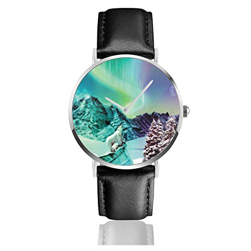 Dfsdfkj Polar Bear in The Aurora Borealis Leather Watch 1.5 Inch,Imported Quartz Movement, Silver Stainless Steel Case,Durable and Scratch-Resistant Mineral Crystal Dial Window