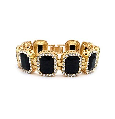 Black Onyx Square Bracelet - Gold Tone Iced Out Square Onyx Black Gemstone 8.25
