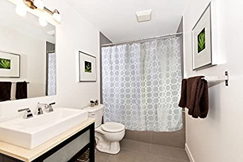 """Shower Curtain Set with Jacquard Octagon Shapes, 70""""x70"""", Includes Hooks (Octagon Shape Rugs)"""
