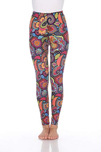 White Mark Women's Fashion Printed Leggings in Multi-Colored Paisley - Plus from White Mark