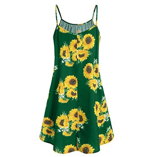c652988debaa Women Short Sleeve Bow Knot Bandage Top Sunflower Floral Print Mini Dress  Suits & ANJUNIE(