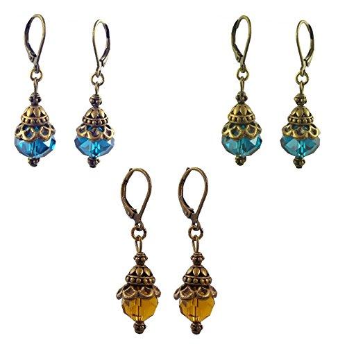 Antique Gold Tone Dangle Earrings ~ Teal Green ~ Ocean Blue ~ Golden Raisin