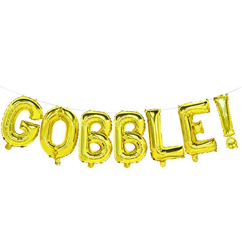 Gobble Balloons Gold | Gobble Banner Sign | Funny Thanksgiving Balloon Decorations, 16Inch Tall