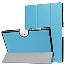 ERLI Acer Iconia One 10 B3-A40 Case, PU Leather and Hard PC Slim-Fit Flip Stand Smart Case Cover (With Auto Wake / Sleep Feature) for Acer Iconia One 10 B3-A40 10.1-Inch Android Tablet (Sky-blue)