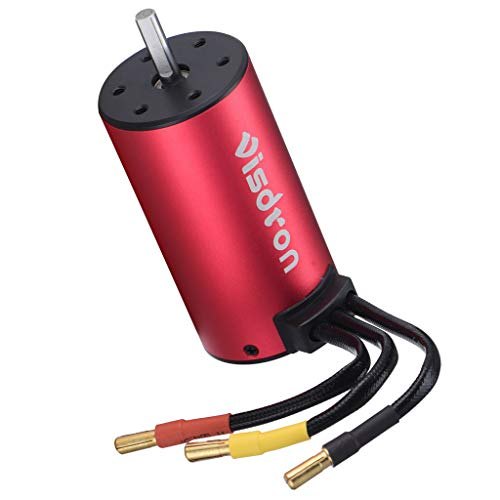 (3670 4Poles 1900KV Brushless Motor for RC 1/8 1/10 Off-Road Car Boat Suitable for 2S Battery All Models of 1:12 and 1:8 Size and 3S 4S 1:8 Size Flat Sports Car and Off-Road Vehicle)