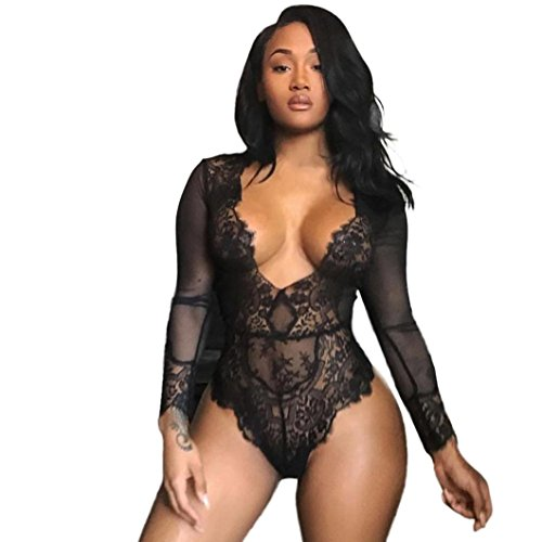 WM & MW Women Lingerie Jumpsuit Long Sleeve Deep V-Neck Lace Nightwear Underwear Sleepwear Teddy Babydoll (Small, Black) ()