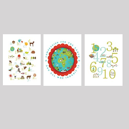 - Our Earth Collection Children's Wall Art Prints 11x14, Kid's Wall Art, Kid's Room Decor, Nursery Decor, Nature Themed Alphabet Print, ABC, Number Print, Children's Room Decor