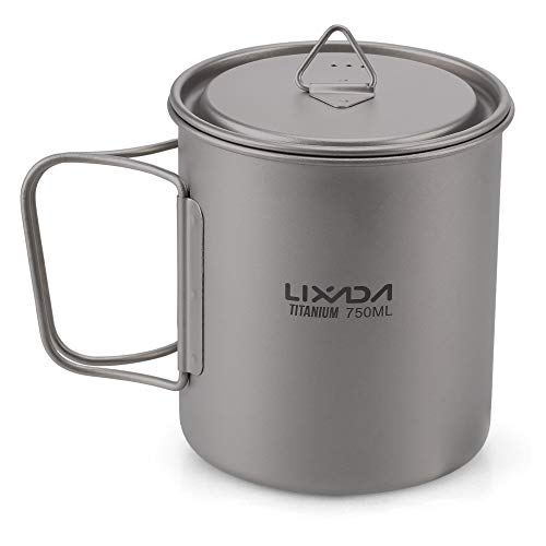 (Lixada Titanium Cup Camping Mug Ultralight Foldable Handle with Lid and Stuff Sack Outdoor Titanium Pot (300ml-750ml Optional) (750ML))