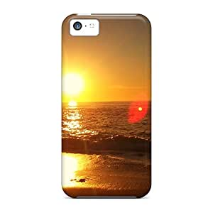 Rugged Skin Case Cover For Iphone 5c- Eco-friendly Packaging(beach Sunset)