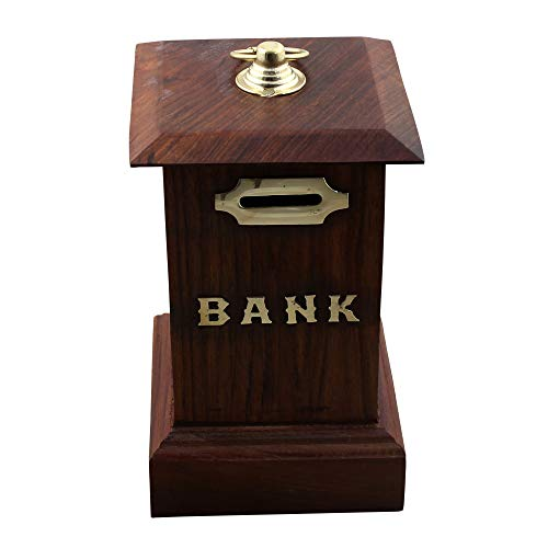 Post Office Antique - RoyaltyRoute Decorative Hand Crafted Post Office Shaped Wooden Money Bank Coin Storage Box Safe Piggy Bank - Christmas Gifts for Kids, Adults & Children