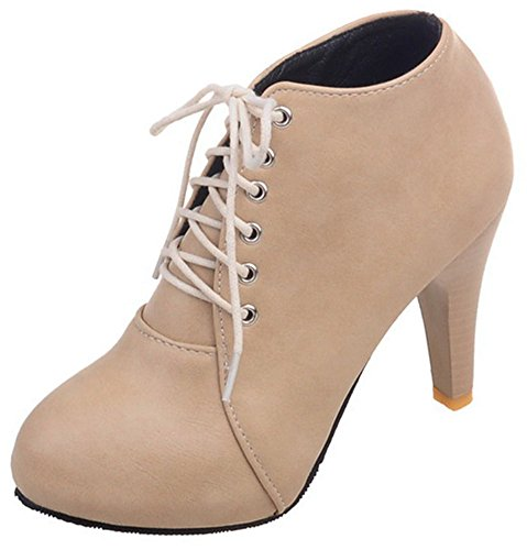 Easemax Women's Fashion Lace Up Round Toe High Chunky Heel Short Ankle High Boots Beige 6MiMu