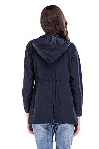Casual oscuro Capucha Cremallera Con Con Con Moda Sólido Cordón Mujer Invierno Abrigos Jacket Chaquetas Manga Bolsillo Otoño Elegantes Cortavientos Rompevientos Larga Azul Color qTExBwvCx5