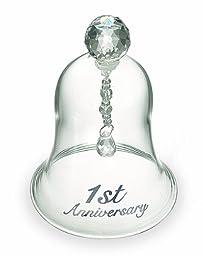 Russ 1st Anniversary Glass Bell, 4-Inch