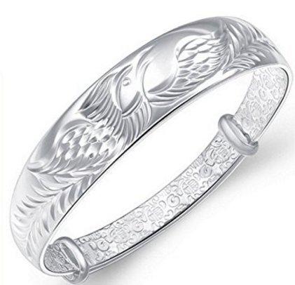 Pomelo Women's 925 Sterling Silver Folk-custom Phoenix Bangle Bracelets