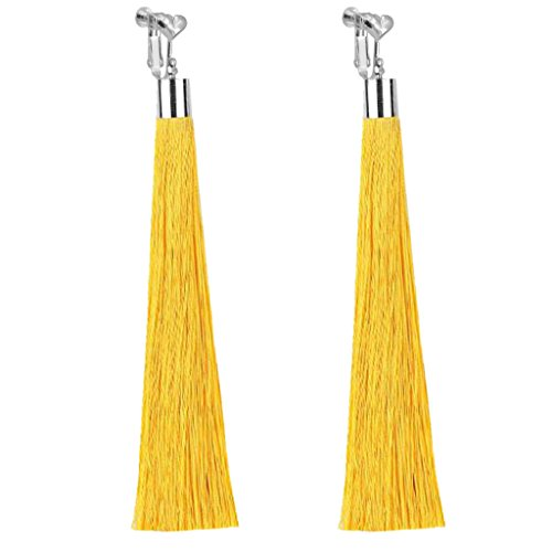- Bohemian Yellow Super Long Tassel Clip on Earrings Dangle For Girls Women Party Prom with Gift Pox