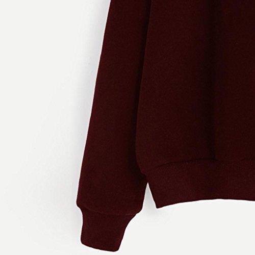 lunga donne cappuccio manica pullis cappuccio Vino moda senza Maglione con Pulli Donna Ananas felpa camicetta pwqZ7v