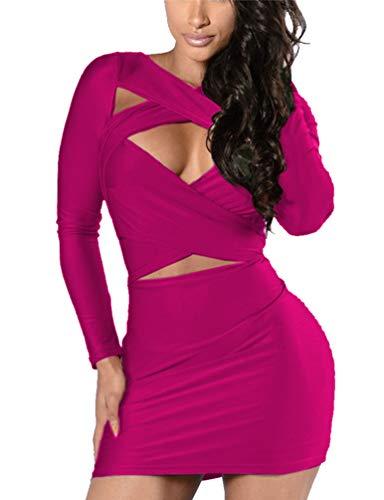 VOGRACE Women's Long Sleeve Cut Out Bandage Bodycon Party Clubwear Dress XL Rose ()