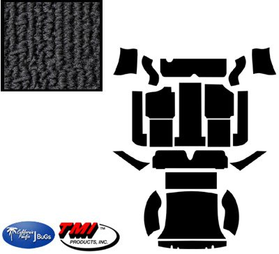 VW Carpet Kit, Full Set, Black Loop, w/o Footrest, Karmann Ghia 1969-1974 (Black Loop Carpet)