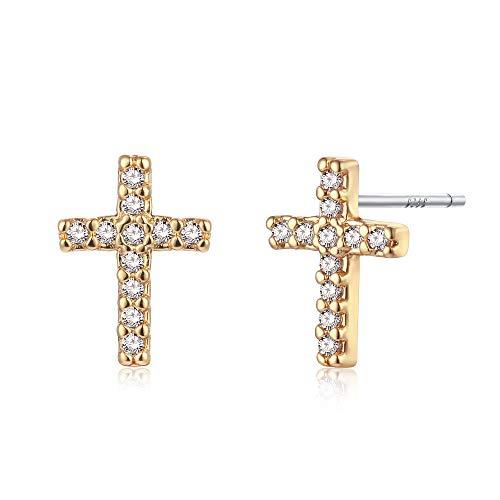 (Mini Cross Stud Earrings,CZ Diamond Cross Earrings,Cross Jewelry Tiny Cross Stud Earrings Gift for Her)