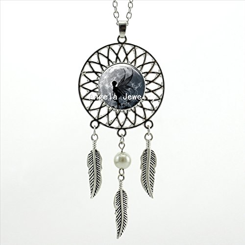 Pretty Lee Cute Fairy Necklace Full Moon And Angel Wings Jewelry Silver Dreamcatcher Necklace Art Photo Glass Cabochon Necklace