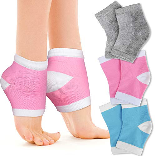 Moisturizing Gel Heel Socks, FANDAMEI Soft Cotton Toeless Spa Socks, Dry Hard Cracked Heels Foot Skin Treatment Care, 3 Pairs (Pink White, Blue White & Grey)