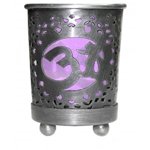 Find Something Different Crown Chakra Metal Votive Candle Holder with Purple Glass Insert