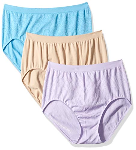 (Bali Women's Comfort Revolution Brief Panty 3-Pack, Nude/Raindrop Blue/Orchid 7)